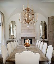 design elements to note mirrors on either side of stone fireplace with credenzas below inspiration idea for either side of dining room fireplace