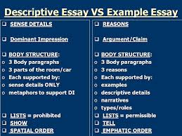 example essay ppt  descriptive essay vs example essay