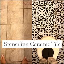 paint ceramic tile with stencil and chalk paint how to update bathroom floor on a budget black white farmhouse style floors black h14 tile