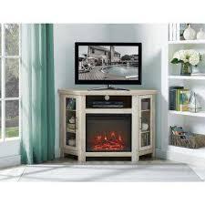 white oak wood corner fireplace media tv stand console