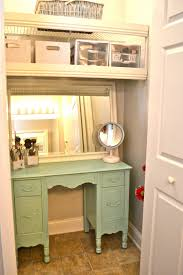 Such a great idea! turn your extra closet into a little vanity/ extra  storage with two shelves above and a small vanity w mirror over it! via Liz  Marie: ...