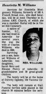 Obituary for Henrietta Montgomery WILLIAMS - Newspapers.com