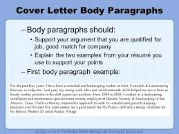 Cover Letter Body Fabulous Cover Letter Body Sample Resume And