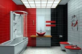 black and red bathroom interior red white and black tiles bathroom ideas home interiors ideal 7