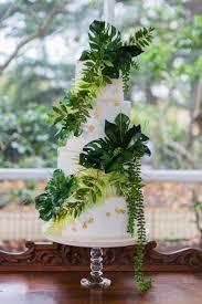 Wedding Cakes White Buttercream Wedding Cake With Greenery Tropical