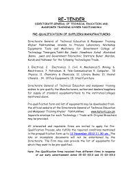 mechanical equipments list pre qualification re tender 2013 14