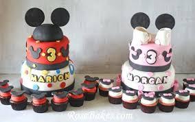 Mickey Mouse Cakes Cupcakes Twins Twin Boy Girl Birthday Cake Ideas