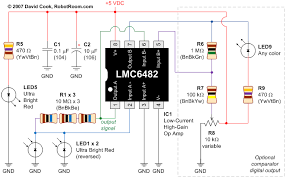 color sensor from a reversed led and op amp page robot room complete schematic for detecting color a reversed led and a high gain op amp