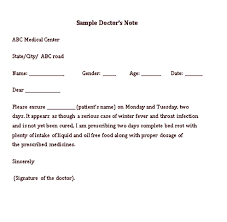 Sample Medical Doctor Note Templates Pitsel