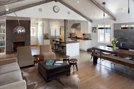 Kitchen:Attractive Living Room With Vaulted Ceiling Also Open Kitchen With  Modern Stools Attractive Living