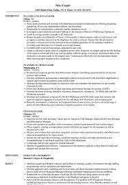 Club Manager Sample Resume Club Manager Resume Samples Velvet Jobs 12