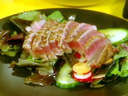 seared ahi tuna and salad of mixed greens with wasabi vinaigrette recipe rachael ray food network