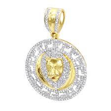 unique luxurman 10k gold lion head diamond pendant for men medallion 0 9ct yellow image
