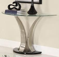 homelegance charlaine half moon glass sofa table on chrome pillars beyond s