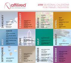 Travel Calendar 2018 Seasonal Calendar For Travel Industry Affilired Travel