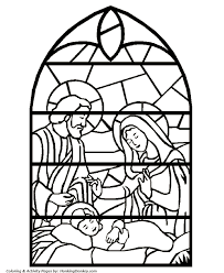 Small Picture Bible Coloring Pages Stained Glass Nativity Coloring Pages