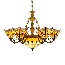 tiffany stained glass center bowl chandelier with 6 small shades featuring red star motif
