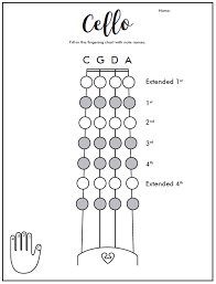 Cello Fingering Chart Diagram Quizlet