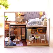 build dollhouse furniture. DIY Blue Time Miniature Wooden Modern Dollhouse Furniture Kit LED Christmas Gift Build
