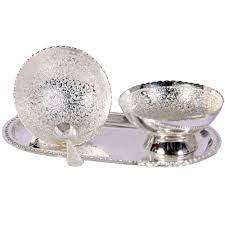 twin bowl german silver pudding set