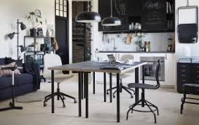 ikea office inspiration. Modren Inspiration A Black And White Kitchen With Two Tables Backtoback In The Centre On Ikea Office Inspiration W