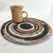 r2s multicolor brown kitchen table mat round fabric placemat plant mat handmade ready to ship