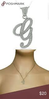 letter g cursive initial cz pendant