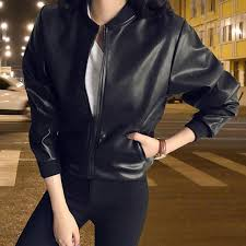 2018 fashion pu leather jackets women zipper motorcycle faux soft leather coat female standing collar pu jacket brown leather jacket waterproof jackets from