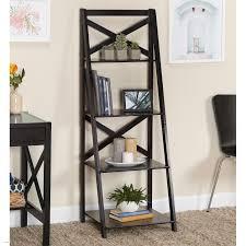 image ladder bookshelf design simple furniture. Simple Living Black Wood X Back 4 Tier Ladder Shelf Free Shipping Today Overstock Com 14260987 Image Bookshelf Design Furniture