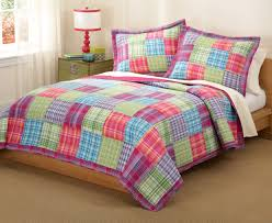 Bedroom: The Stylish Quilted Bedspreads For Your Bedroom — Pichafh.com & plaid quilted bedspreads with table lamp and white curtains also curtains  rods for modern bedroom design Adamdwight.com