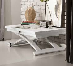 view larger gallery mascotte coffee table transforming into a dining table matt optic white shown