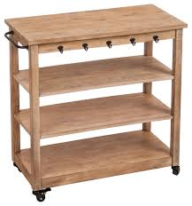 wooden rolling display serving cart with black iron towel bars and hooks and two rustic kitchen islands and kitchen carts by j thomas products