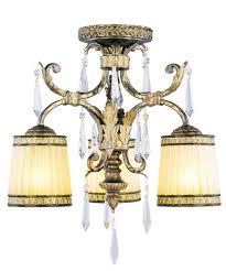 3 light vintage gold leaf ceiling mount