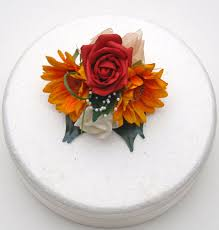 Red Rose Golden Silk Sunflower Wedding Cake Spray With Pearl