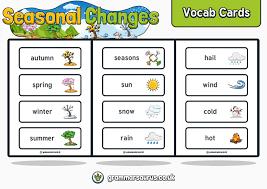 Science Seasonal Changes Vocab Cards Grammarsaurus