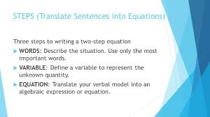 steps translate sentences into equations
