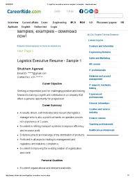 2 Logistics Executive Resume Samples Examples Download Now Pdf