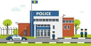 police station building clipart. Perfect Police City Police Department Building In Landscape With Policeman And Car  Flat Style Stock Vector Throughout Police Station Building Clipart L