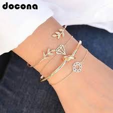 docona 4pcs/1set Punk <b>Bracelet Simple Geometric</b> Leaf Knot Metal ...