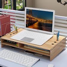 office desktop storage. Neck-neck Notebook Computer Monitor Screen Increase Bracket Office Desktop Storage Box Keyboard Shelf I