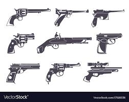 Design Pistol Firearm Set Guns Pistols Revolvers Flat Design Vector Image