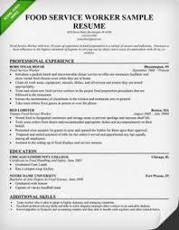 Awesome Collection of Sample Resume For Food Service Worker In Form