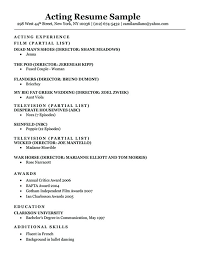 Actors Resume Format Extraordinary Resume Format For Actors Acting Resume Sample Download Resume Format