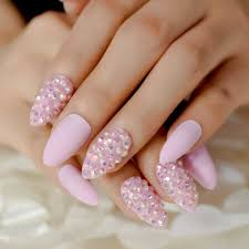 Light Pink Nails With Rhinestones Pudding Almond Nails Medium Light Pink Color Nails Rhinestones Decoration Press On Nails Jelly Crystal Pre Designed