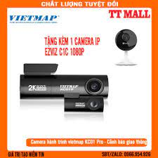 Tặng camera IP Ezviz C1C 2.0} Camera hành trình Vietmap KC01 Ghi hình cam  trước SUPER HD (2K) - Cam Sau FULL HD 1080P