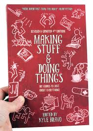 a red book cover with white outline ilrations of people making stuff and doing things