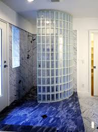 masonry built walk in door less glass block shower constructed in mortar with