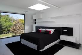 modern bedroom black. Bedroom, Minimalist Black And White Bedroom With Square Skylight Over Floating Bed Idea Plus Modern S