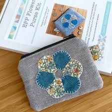 Paper Piecing Flower Epp Flower Purse Kit In Liberty Blue English Paper Piecing Purse Kit
