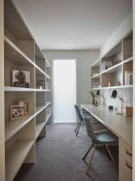 contemporary home office. Trendy Built-in Desk Carpeted And Gray Floor Home Office Photo In Melbourne With White Contemporary I